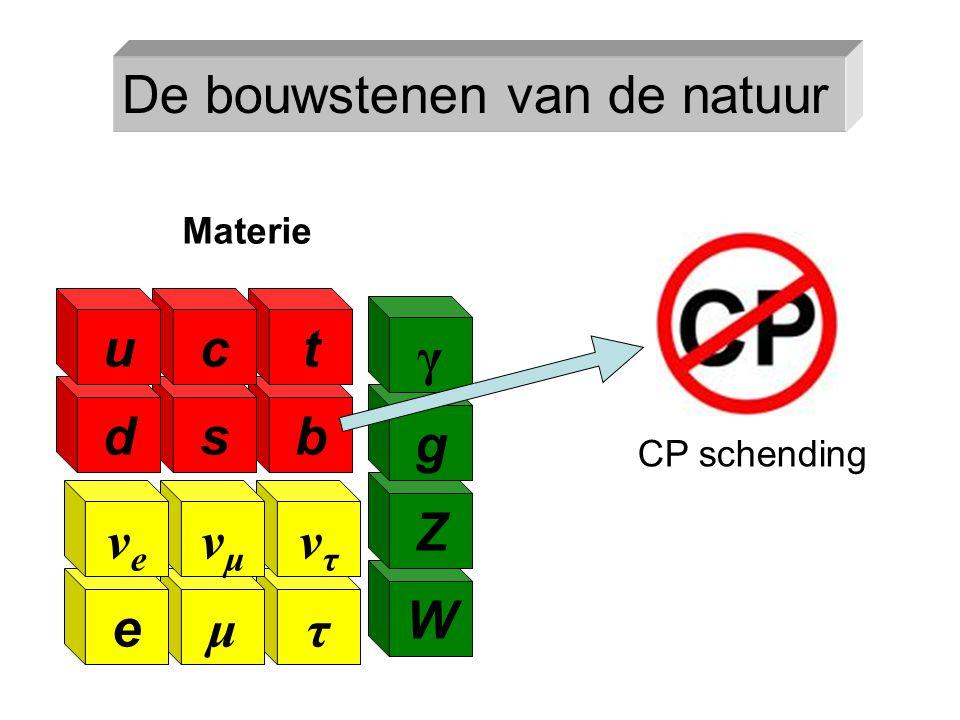 b τ ντντ μ νμνμ e νeνe W Z g γ t s c d u Materie CP schending De bouwstenen van de natuur