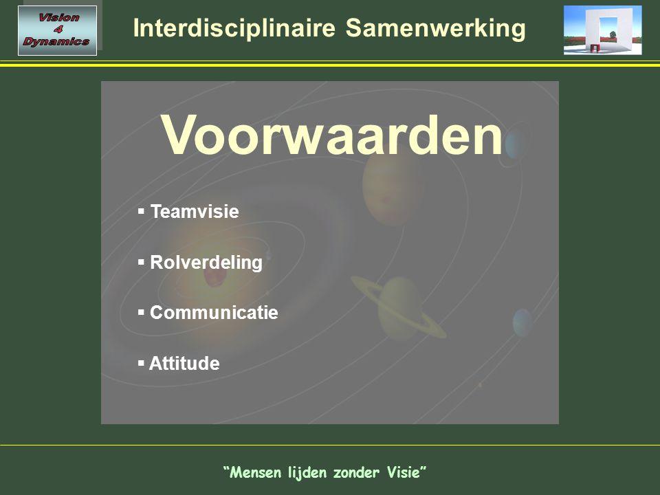 Mensen lijden zonder Visie Interdisciplinaire Samenwerking Voorwaarden  Teamvisie  Rolverdeling  Communicatie  Attitude