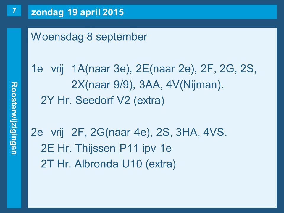 zondag 19 april 2015 Roosterwijzigingen Woensdag 8 september 1evrij1A(naar 3e), 2E(naar 2e), 2F, 2G, 2S, 2X(naar 9/9), 3AA, 4V(Nijman).