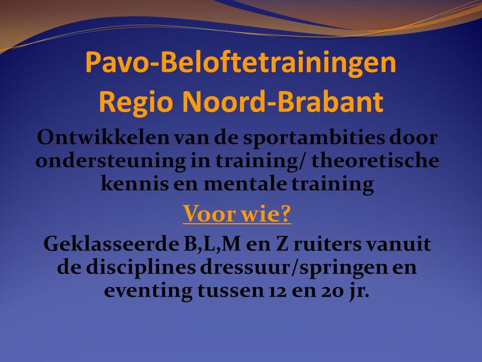 Pavo-Beloftetrainingen Regio Noord-Brabant Ontwikkelen van de sportambities door ondersteuning in training/ theoretische kennis en mentale training Vo
