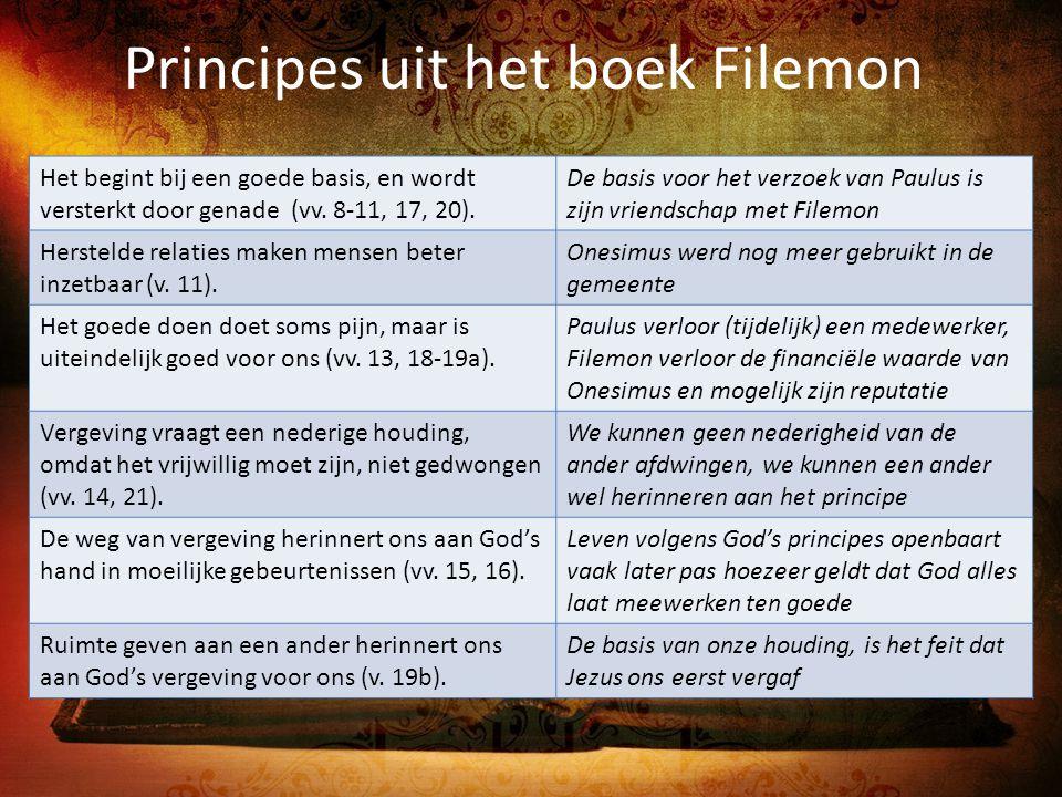 Principes uit het boek Filemon Het begint bij een goede basis, en wordt versterkt door genade (vv. 8-11, 17, 20). De basis voor het verzoek van Paulus