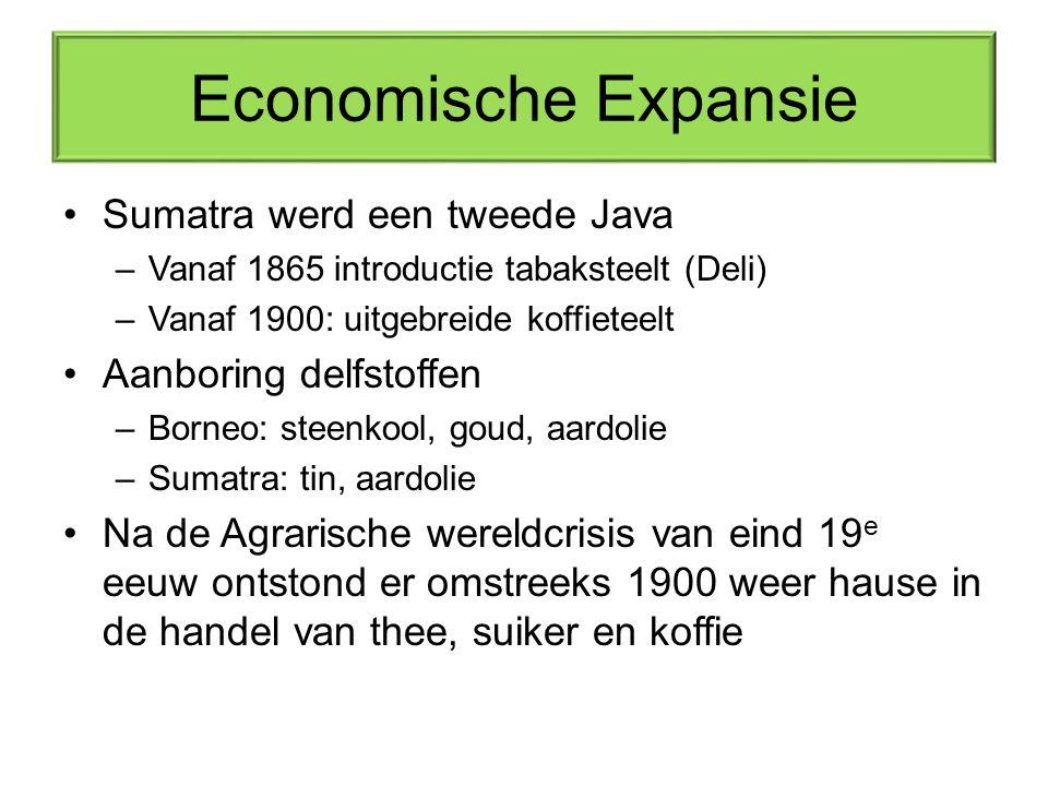 Economische Expansie Sumatra werd een tweede Java –Vanaf 1865 introductie tabaksteelt (Deli) –Vanaf 1900: uitgebreide koffieteelt Aanboring delfstoffe