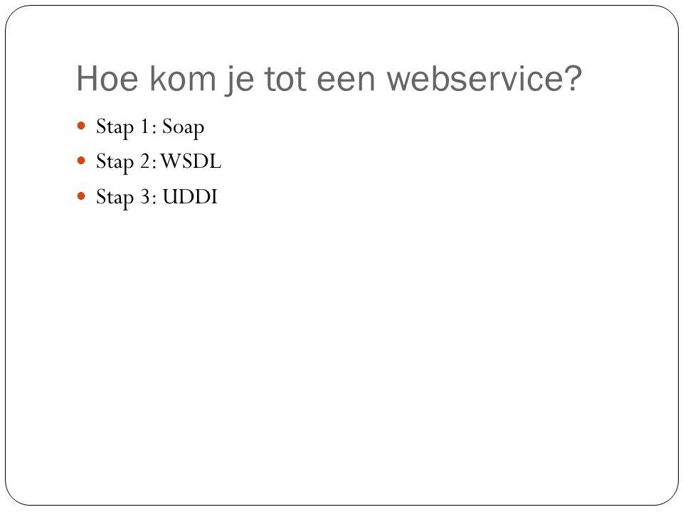 Hoe kom je tot een webservice? Stap 1: Soap Stap 2: WSDL Stap 3: UDDI