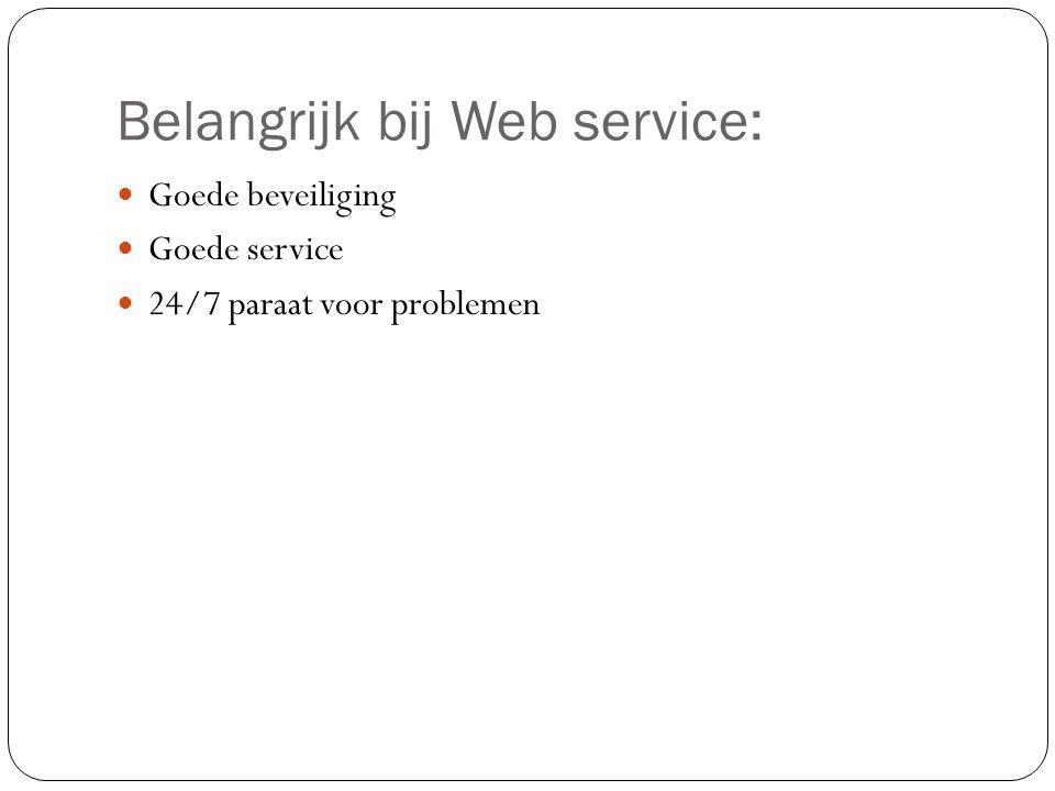 Belangrijk bij Web service: Goede beveiliging Goede service 24/7 paraat voor problemen