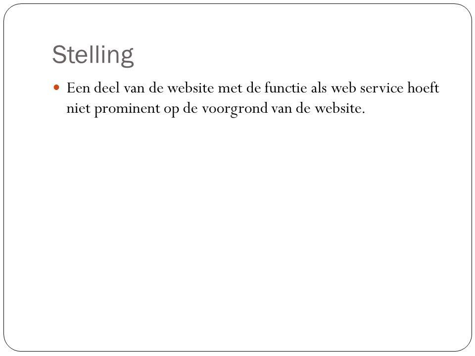 Stelling Een deel van de website met de functie als web service hoeft niet prominent op de voorgrond van de website.