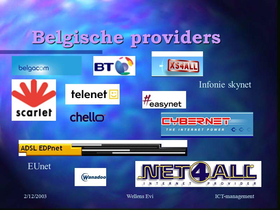 ICT-management 2/12/2003Wellens Evi Belgische providers EUnet Infonie skynet