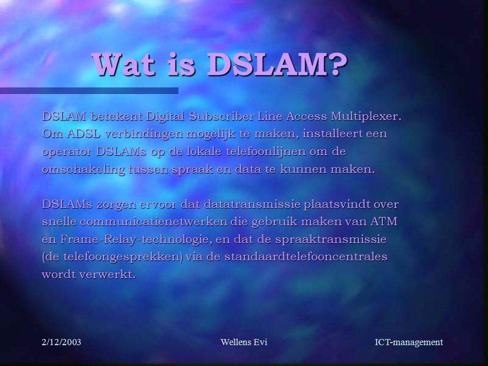 ICT-management 2/12/2003Wellens Evi Wat is DSLAM.