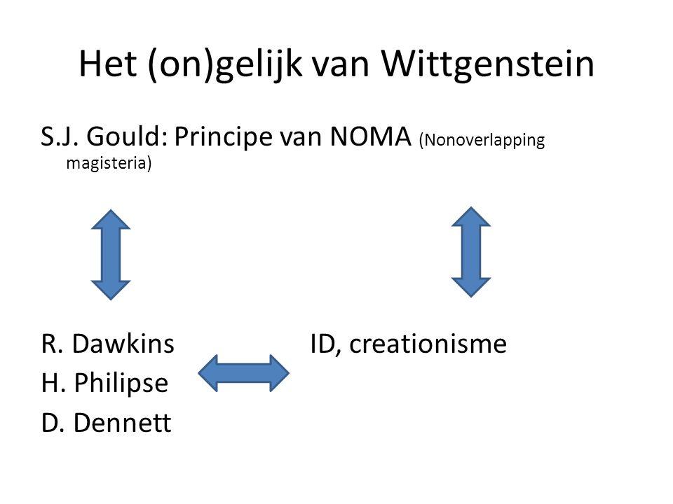Het (on)gelijk van Wittgenstein S.J. Gould: Principe van NOMA (Nonoverlapping magisteria) R. DawkinsID, creationisme H. Philipse D. Dennett