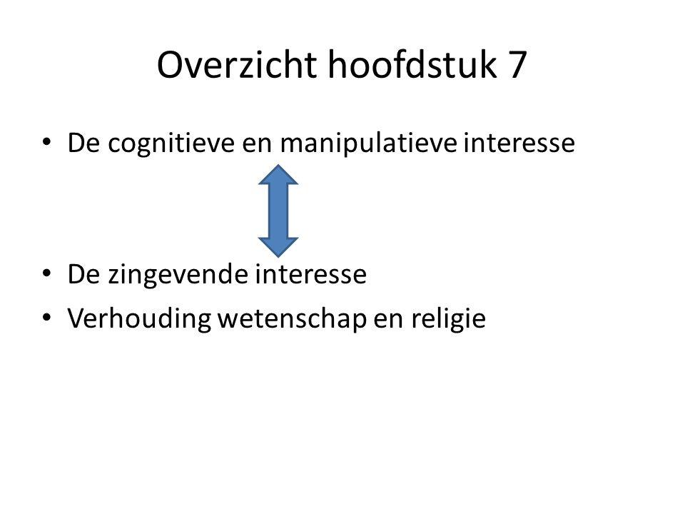 Overzicht hoofdstuk 7 De cognitieve en manipulatieve interesse De zingevende interesse Verhouding wetenschap en religie