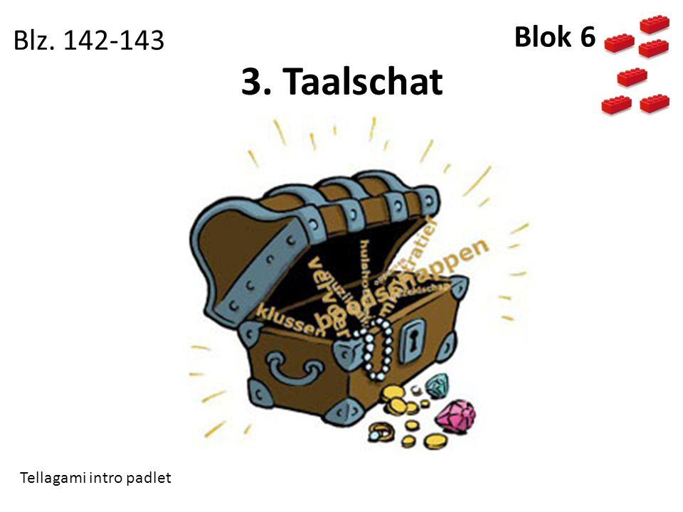3. Taalschat Blz. 142-143 Blok 6 Tellagami intro padlet