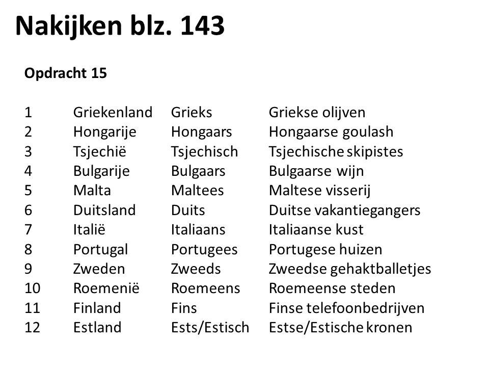 Nakijken blz. 143 Opdracht 15 1GriekenlandGrieksGriekse olijven 2HongarijeHongaarsHongaarse goulash 3TsjechiëTsjechischTsjechische skipistes 4Bulgarij