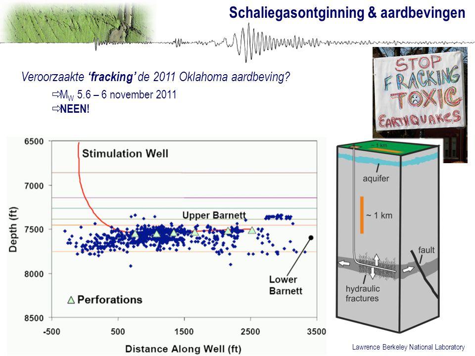 Veroorzaakte 'fracking' de 2011 Oklahoma aardbeving?  M W 5.6 – 6 november 2011  NEEN! Lawrence Berkeley National Laboratory Schaliegasontginning &