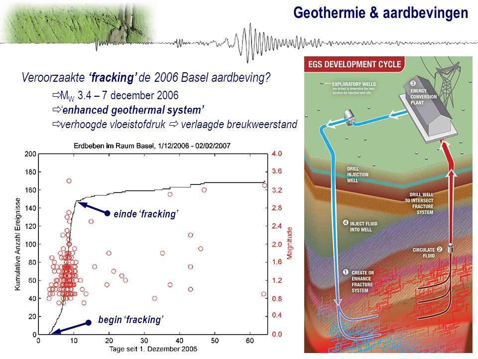 Geothermie & aardbevingen Veroorzaakte 'fracking' de 2006 Basel aardbeving?  M W 3.4 – 7 december 2006  ' enhanced geothermal system'  verhoogde vl