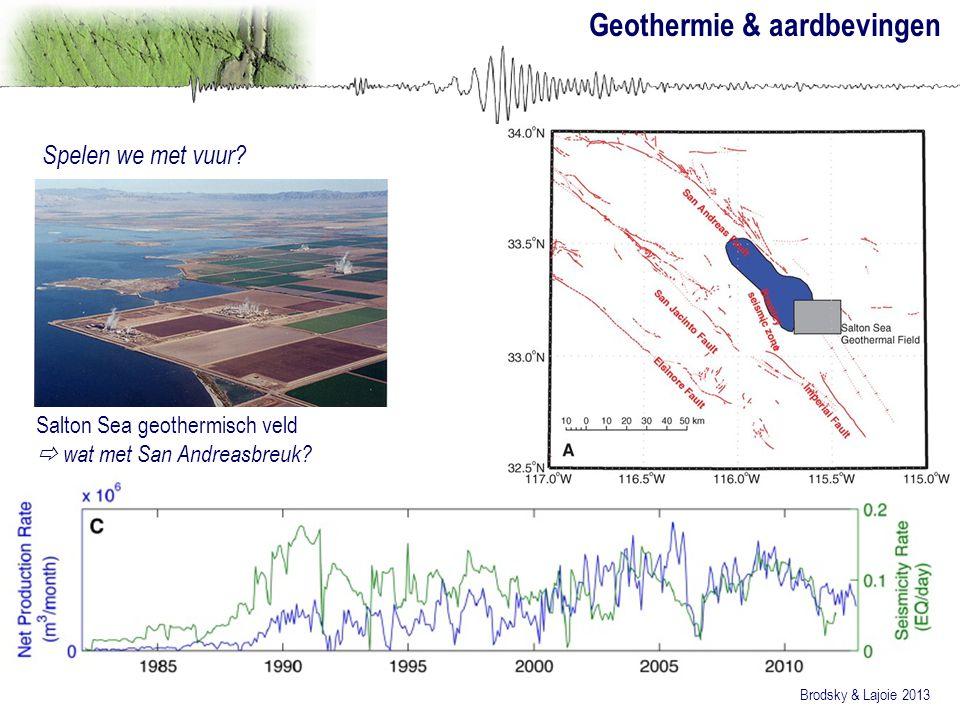 Geothermie & aardbevingen Spelen we met vuur? Brodsky & Lajoie 2013 Salton Sea geothermisch veld  wat met San Andreasbreuk?