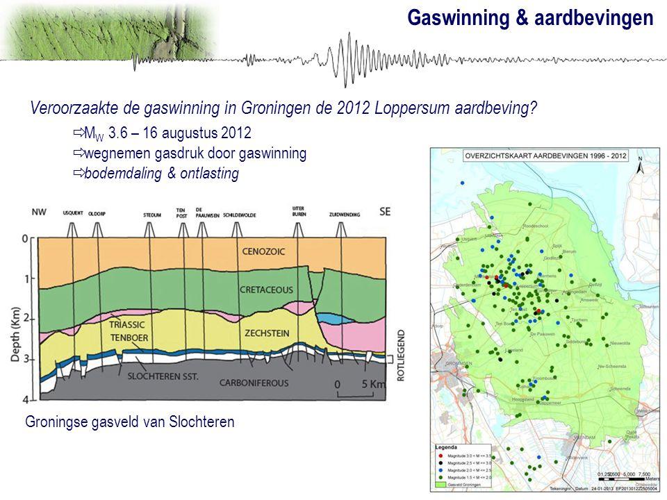 Gaswinning & aardbevingen Veroorzaakte de gaswinning in Groningen de 2012 Loppersum aardbeving?  M W 3.6 – 16 augustus 2012  wegnemen gasdruk door g