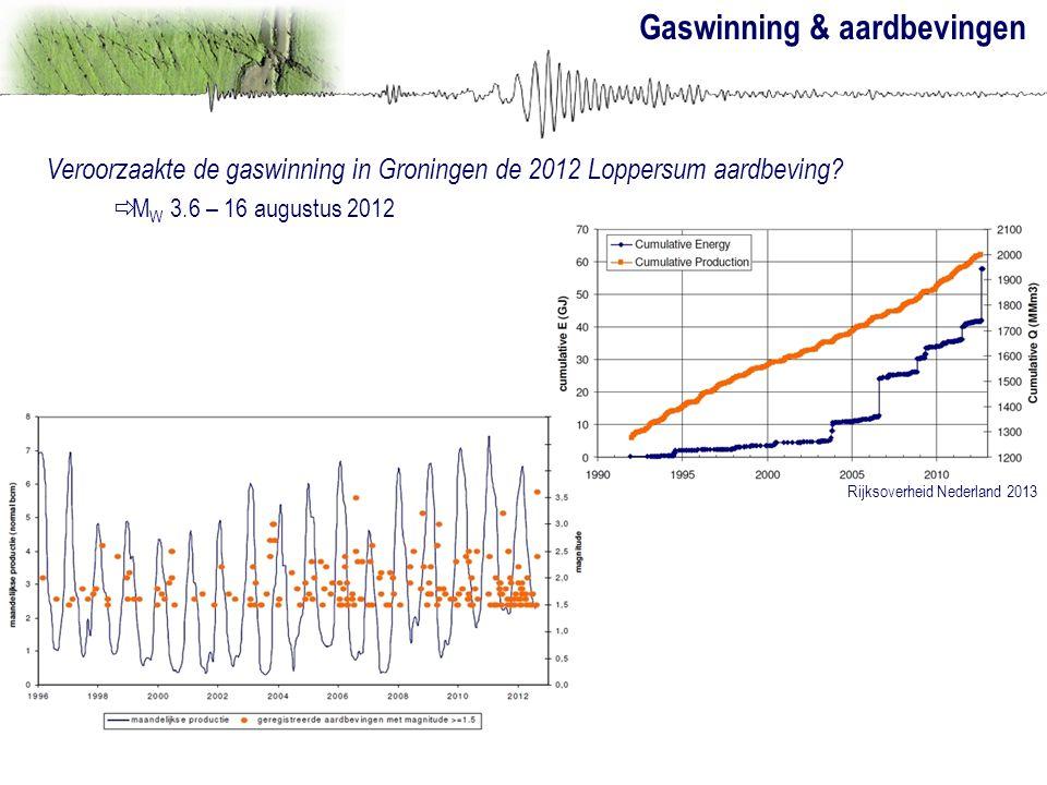 Gaswinning & aardbevingen Veroorzaakte de gaswinning in Groningen de 2012 Loppersum aardbeving?  M W 3.6 – 16 augustus 2012 Rijksoverheid Nederland 2