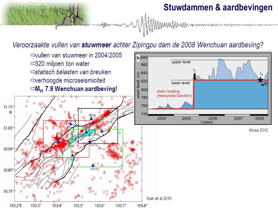 Stuwdammen & aardbevingen Veroorzaakte vullen van stuwmeer achter Zipingpu dam de 2008 Wenchuan aardbeving?  vullen van stuwmeer in 2004/2005  320 m