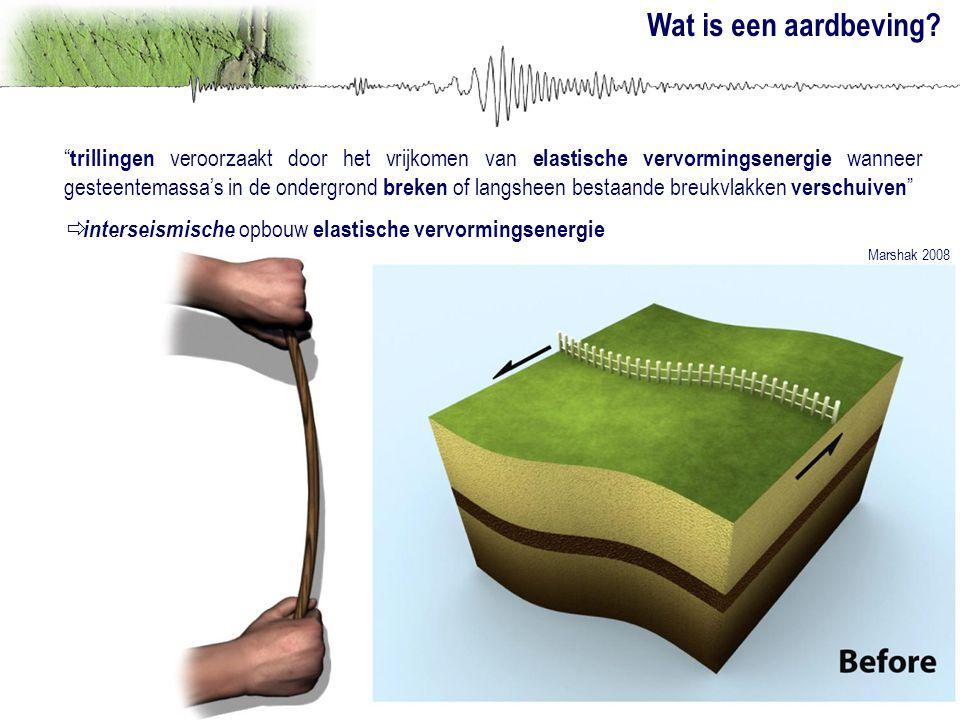 """Wat is een aardbeving? """" trillingen veroorzaakt door het vrijkomen van elastische vervormingsenergie wanneer gesteentemassa's in de ondergrond breken"""