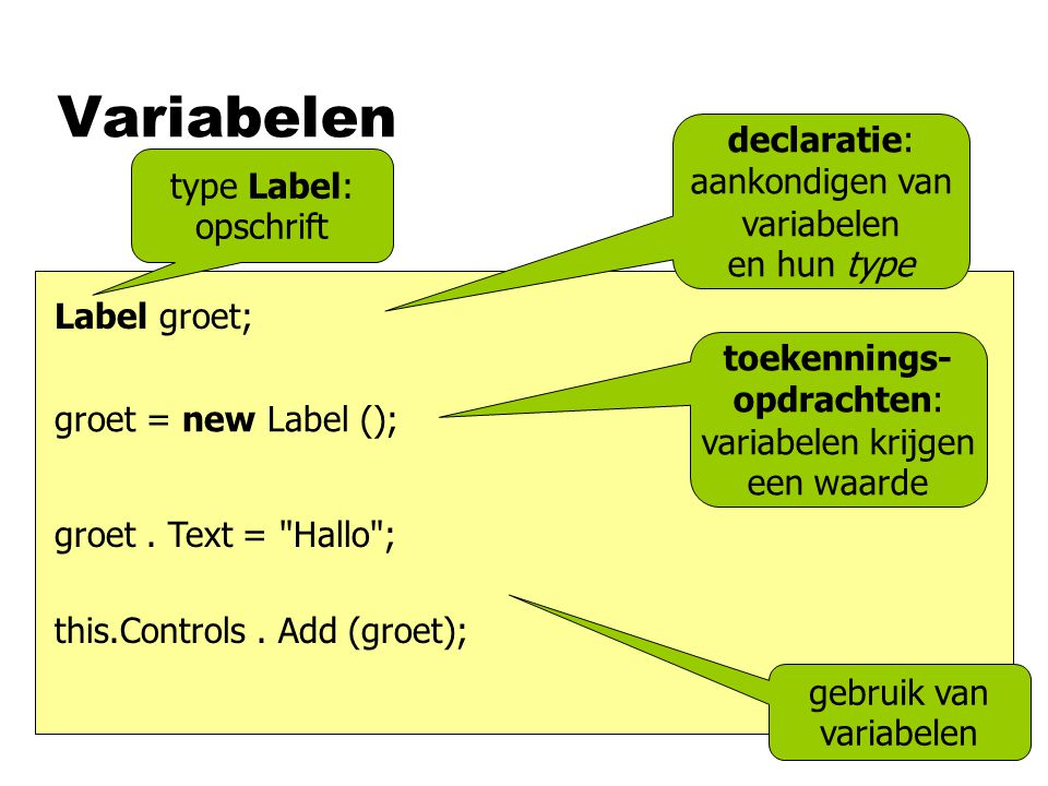 Variabelen groet.Text = Hallo ; this.Controls.