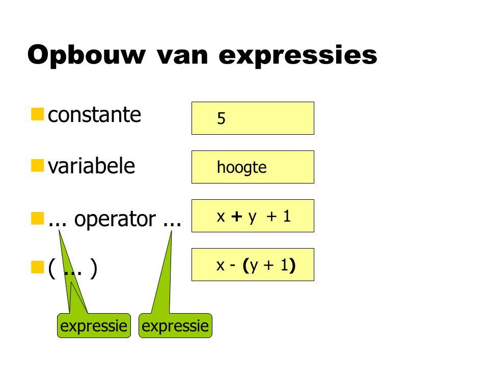 expressie Opbouw van expressies nconstante nvariabele n... operator... n(... ) 5 hoogte x + y (y + 1) + 1 x - expressie