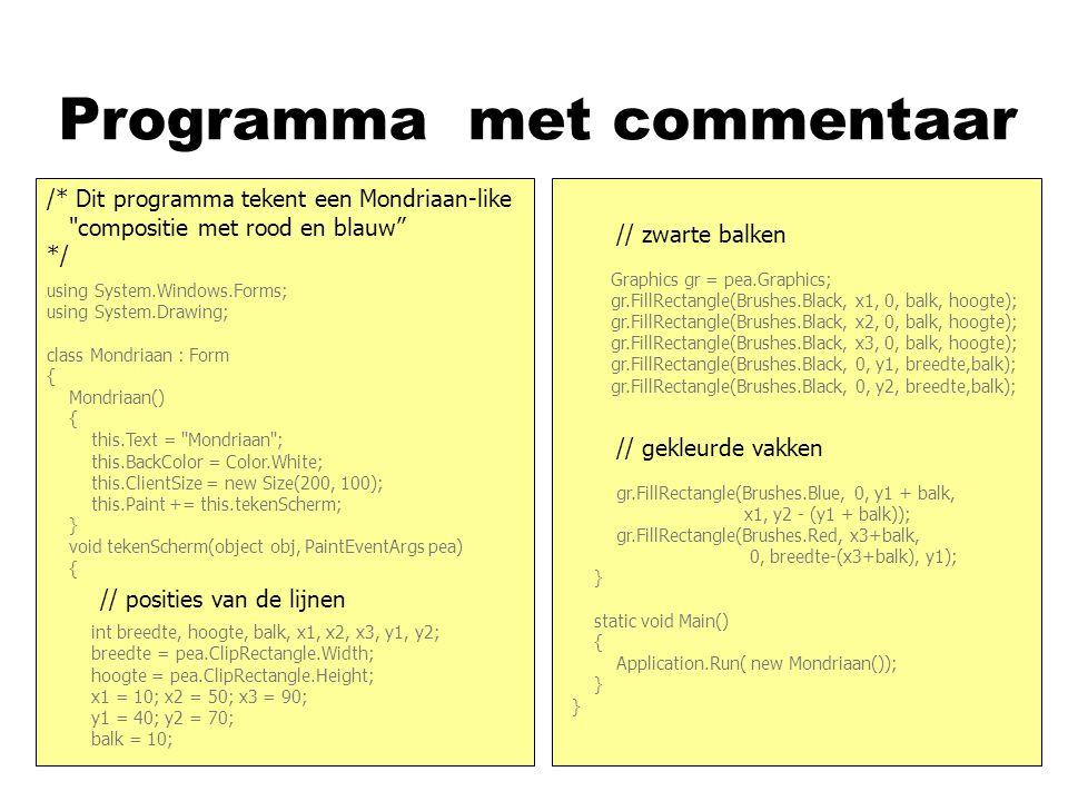 Programma nasd using System.Windows.Forms; using System.Drawing; class Mondriaan : Form { Mondriaan() { this.Text =