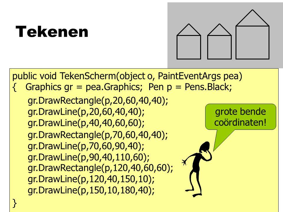 Tekenen gr.DrawRectangle(p,20,60,40,40); gr.DrawLine(p,20,60,40,40); gr.DrawLine(p,40,40,60,60); gr.DrawRectangle(p,70,60,40,40); gr.DrawLine(p,70,60,