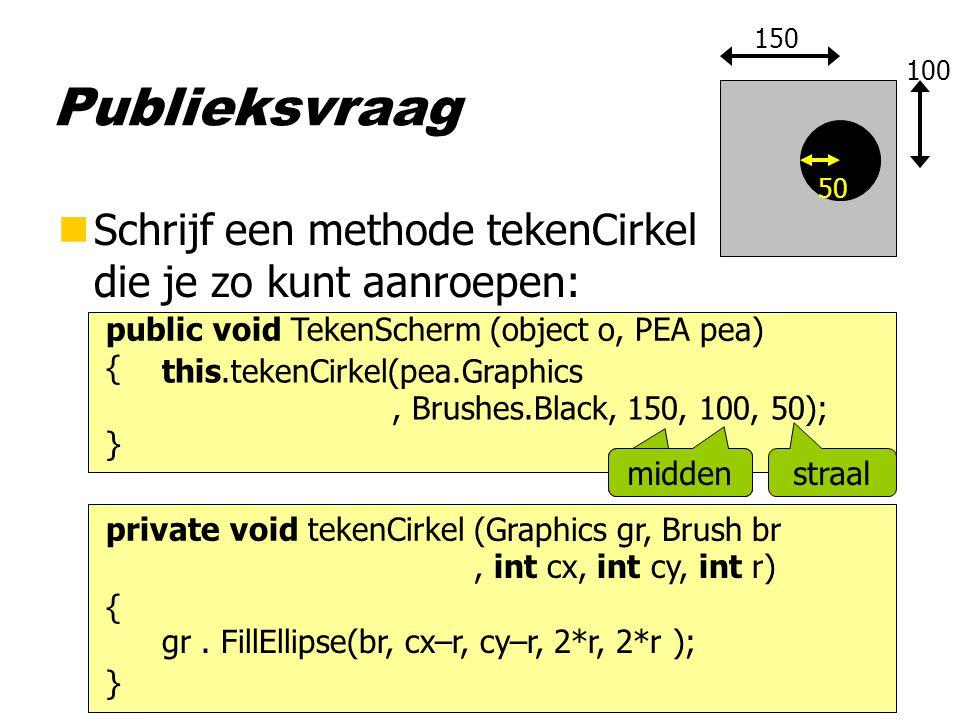 Publieksvraag nSchrijf een methode tekenCirkel die je zo kunt aanroepen: public void TekenScherm (object o, PEA pea) { } this.tekenCirkel(pea.Graphics