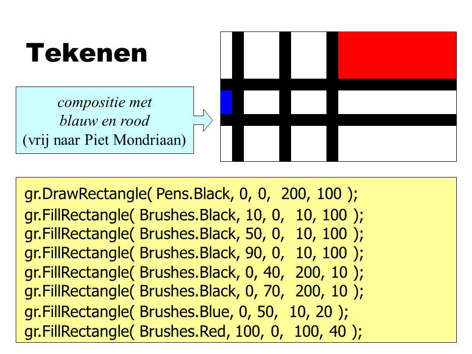 Variabelen gr.FillRectangle( Brushes.Black, x1, 0, balk, hoog ); gr.FillRectangle( Brushes.Black, x2, 0, balk, hoog ); gr.FillRectangle( Brushes.Black, x3, 0, balk, hoog ); int balk, breed, hoog; balk=10; breed=200; hoog=100; x1x2x3 y1 y2 int x1, x2, x3, y1, y2; x1=10; x2=50; x3=90; y1=40; y2=70; gr.FillRectangle( Brushes.Black, 0, y1, breed, balk ); gr.FillRectangle( Brushes.Black, 0, y2, breed, balk ); gr.FillRectangle( Brushes.Blue, 0, y1+balk, x1, y2-y1-balk ); gr.FillRectangle( Brushes.Red, x3+balk, 0, br-(x3+balk), y1 );