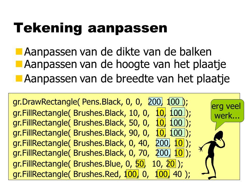 Variabelen gr.FillRectangle( Brushes.Black, 10, 0, balk, hoogte ); gr.FillRectangle( Brushes.Black, 50, 0, balk, hoogte ); gr.FillRectangle( Brushes.Black, 90, 0, balk, hoogte ); gr.FillRectangle( Brushes.Black, 0, 40, breedte, balk ); gr.FillRectangle( Brushes.Black, 0, 70, breedte, balk ); balk = 10; breedte = 200; hoogte = 100; int balk, breedte, hoogte; gebruik van variabelen toekennings- opdrachten: variabelen krijgen een waarde declaratie: aankondigen van variabelen en hun type type int: geheel getal