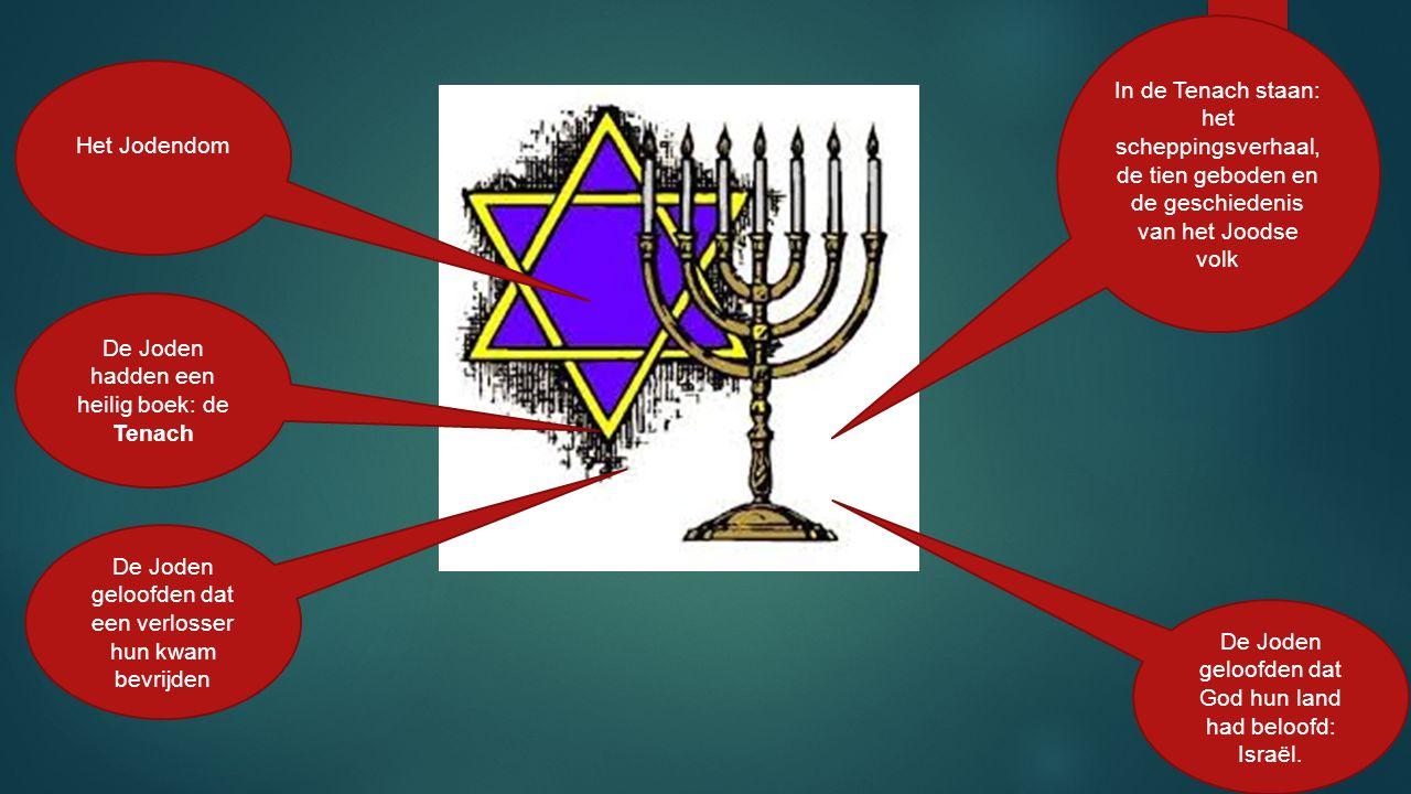Het Jodendom De Joden hadden een heilig boek: de Tenach In de Tenach staan: het scheppingsverhaal, de tien geboden en de geschiedenis van het Joodse v