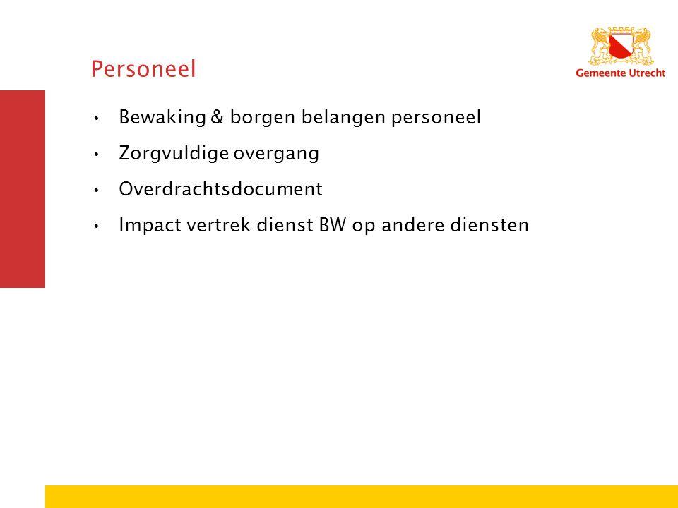 Personeel Bewaking & borgen belangen personeel Zorgvuldige overgang Overdrachtsdocument Impact vertrek dienst BW op andere diensten