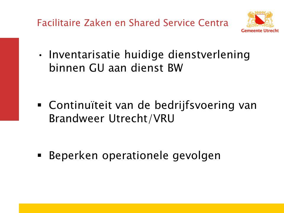 Facilitaire Zaken en Shared Service Centra Inventarisatie huidige dienstverlening binnen GU aan dienst BW  Continuïteit van de bedrijfsvoering van Br