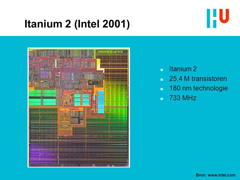 Itanium 2 (Intel 2001) n Itanium 2 n 25,4 M transistoren n 180 nm technologie n 733 MHz Bron: www.intel.com