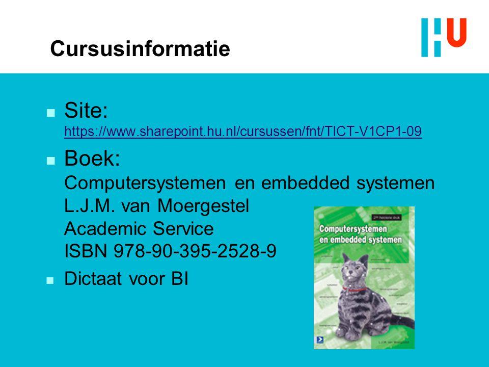 Cursusinformatie n Site: https://www.sharepoint.hu.nl/cursussen/fnt/TICT-V1CP1-09 https://www.sharepoint.hu.nl/cursussen/fnt/TICT-V1CP1-09 n Boek: Computersystemen en embedded systemen L.J.M.