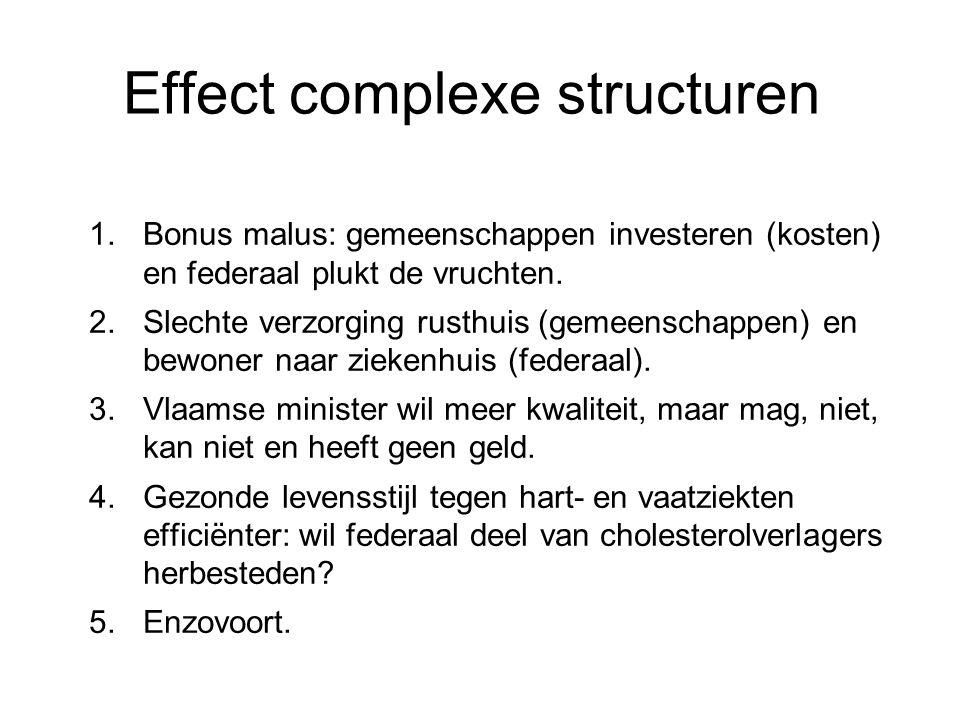 Effect complexe structuren 1.Bonus malus: gemeenschappen investeren (kosten) en federaal plukt de vruchten.