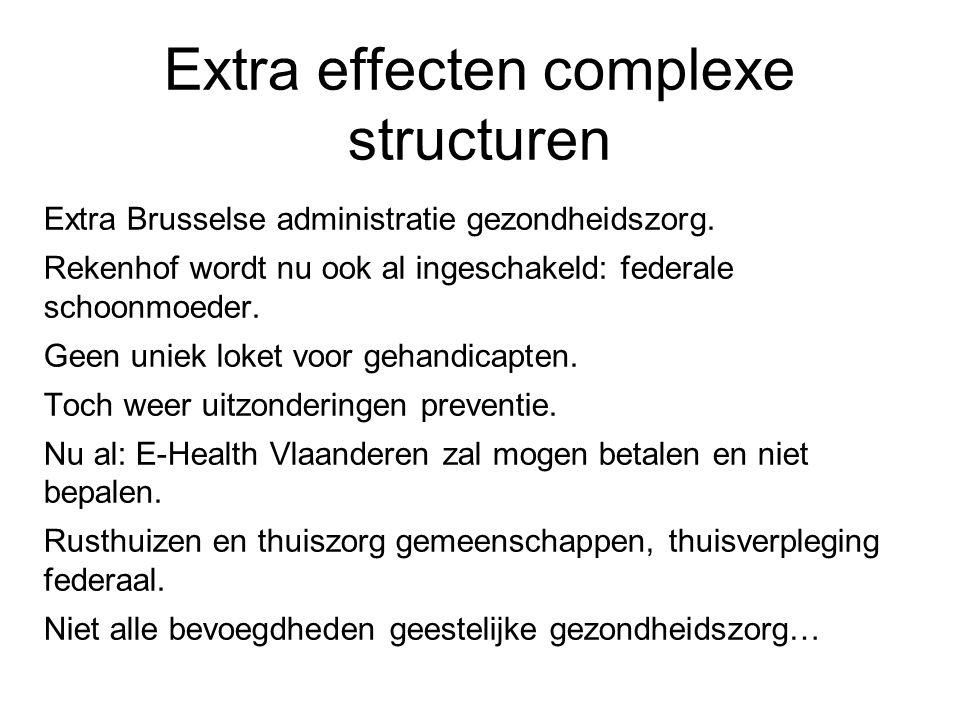 Extra effecten complexe structuren Extra Brusselse administratie gezondheidszorg.