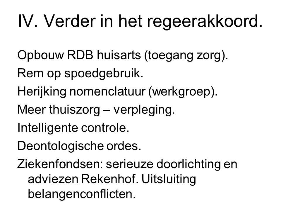 IV. Verder in het regeerakkoord. Opbouw RDB huisarts (toegang zorg).