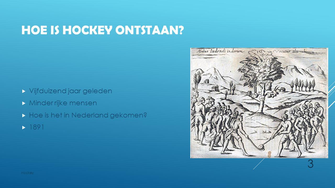 HOE IS HOCKEY ONTSTAAN?  Vijfduizend jaar geleden  Minder rijke mensen  Hoe is het in Nederland gekomen?  1891 Hockey 3