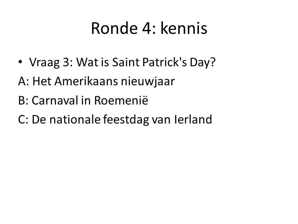 Ronde 4: kennis Vraag 4: Als het vandaag vrijdag is, welke dag was het dan 3 dagen voor eergisteren?