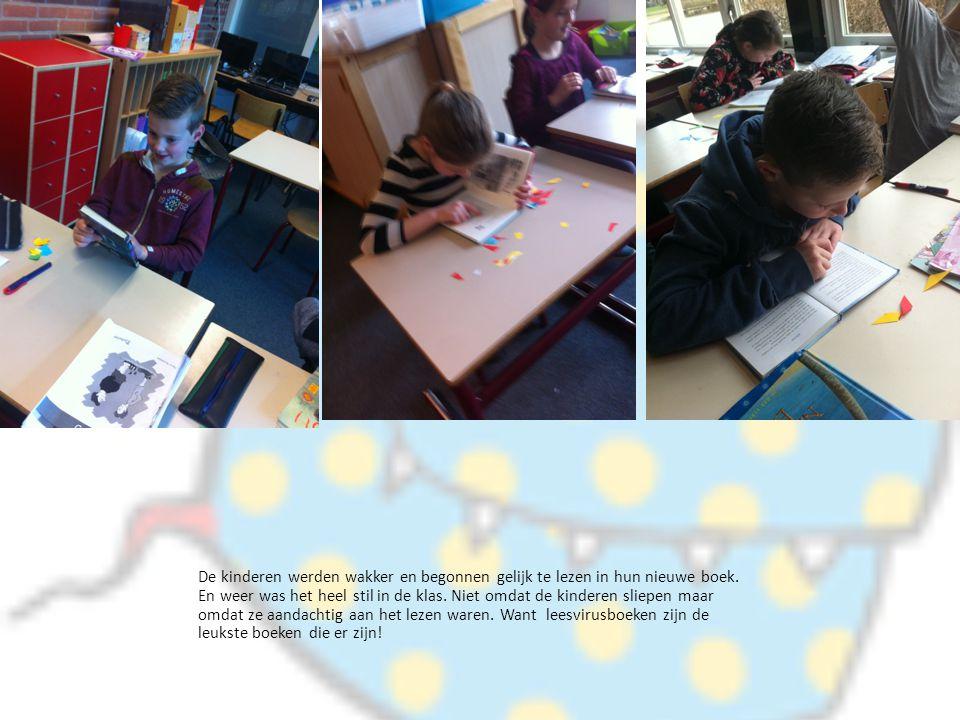 De kinderen werden wakker en begonnen gelijk te lezen in hun nieuwe boek. En weer was het heel stil in de klas. Niet omdat de kinderen sliepen maar om