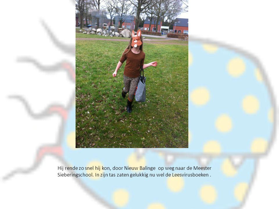 Hij rende zo snel hij kon, door Nieuw Balinge op weg naar de Meester Sieberingschool. In zijn tas zaten gelukkig nu wel de Leesvirusboeken.