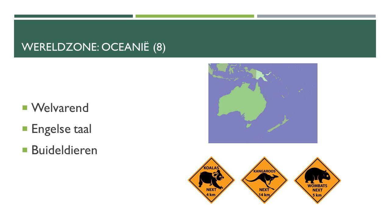 WERELDZONE: OCEANIË (8)  Welvarend  Engelse taal  Buideldieren