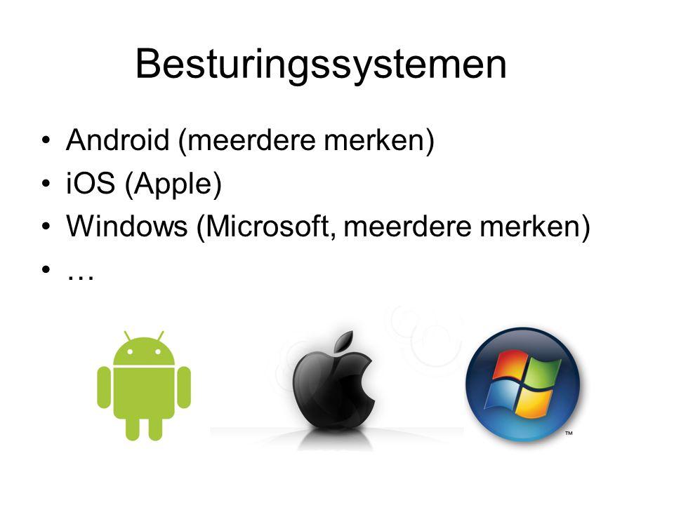 Besturingssystemen Android (meerdere merken) iOS (Apple) Windows (Microsoft, meerdere merken) …
