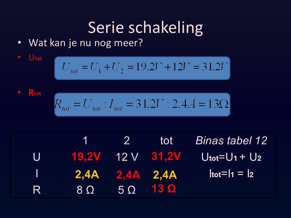 Serie schakeling Wat kan je nu nog meer? U tot R tot 12totBinas tabel 12 U12 VU tot =U 1 + U 2 II tot =I 1 = I 2 R8 Ω5 Ω 2,4A 13 Ω 19,2V 31,2V