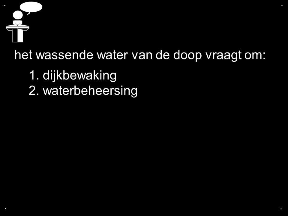 .... het wassende water van de doop vraagt om: 1. dijkbewaking 2. waterbeheersing