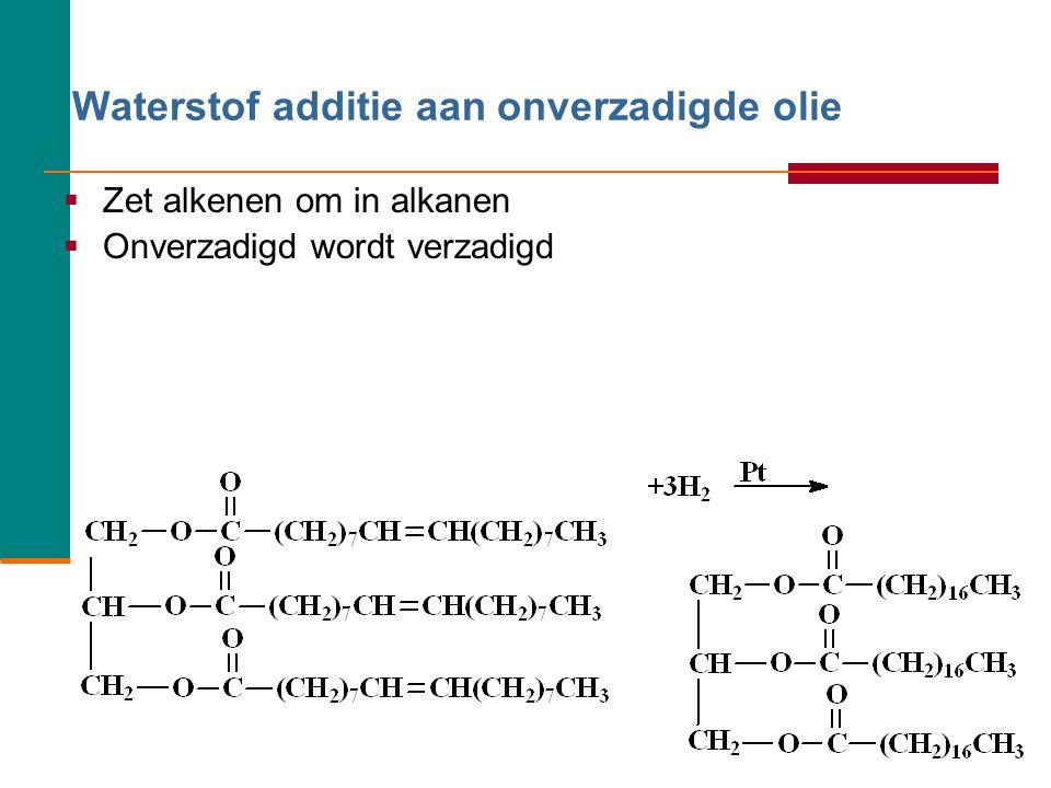Glycerol (1,2,3-propaantriol) 21 Olie of vet kan worden bereid uit glycerol en drie vetzuren er ontstaat dan een zogenaamd: tri- ester.