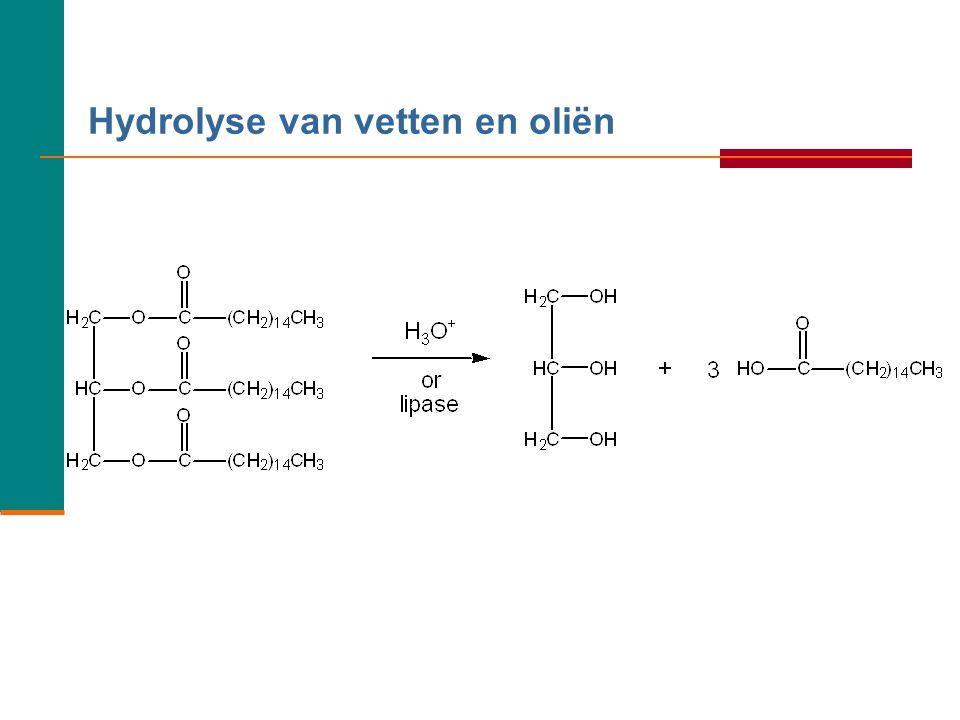 Voorbeeld:  Geef de reactievergelijking in structuurformules wanneer glycerol reageert met oliezuur.