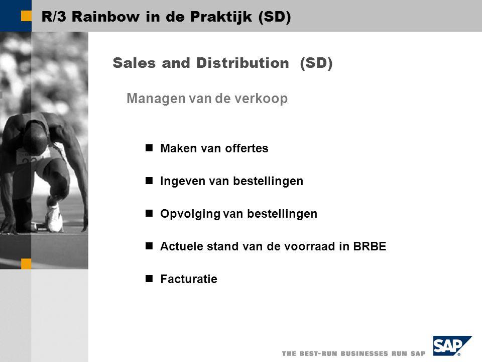R/3 Rainbow in de Praktijk (SD) Sales and Distribution (SD) Maken van offertes Ingeven van bestellingen Opvolging van bestellingen Actuele stand van de voorraad in BRBE Facturatie Managen van de verkoop