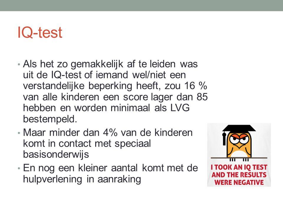 IQ-test Als het zo gemakkelijk af te leiden was uit de IQ-test of iemand wel/niet een verstandelijke beperking heeft, zou 16 % van alle kinderen een s
