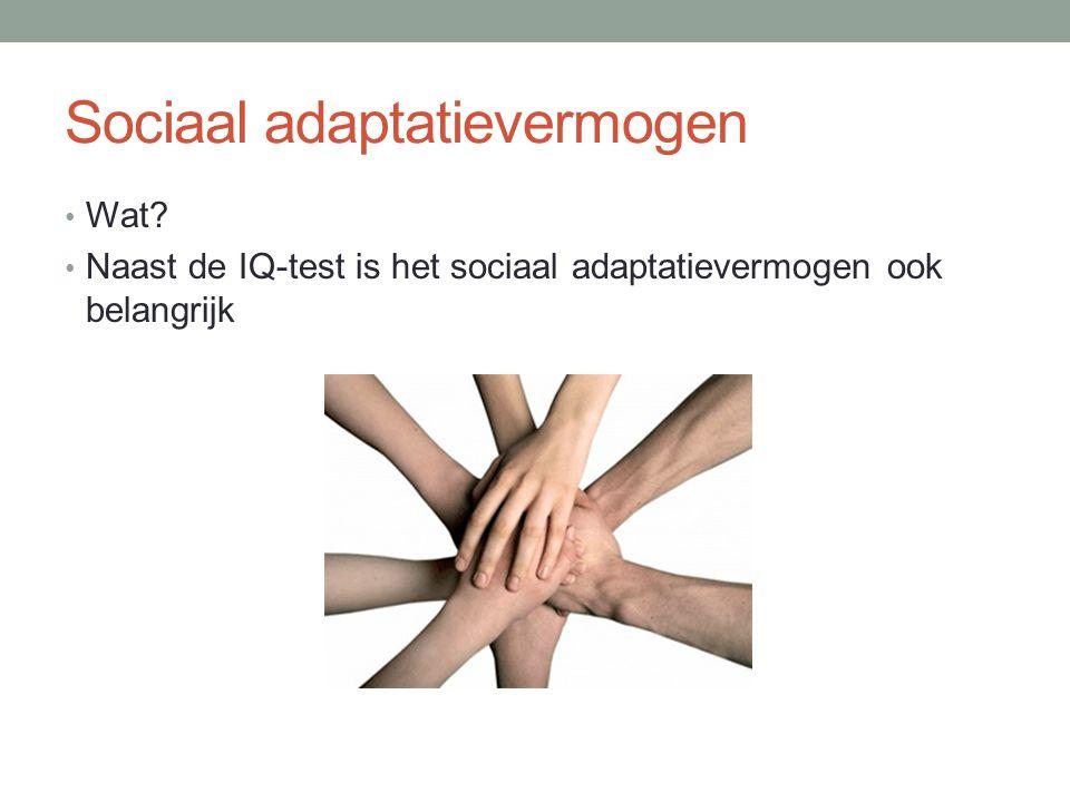 Sociaal adaptatievermogen Wat? Naast de IQ-test is het sociaal adaptatievermogen ook belangrijk